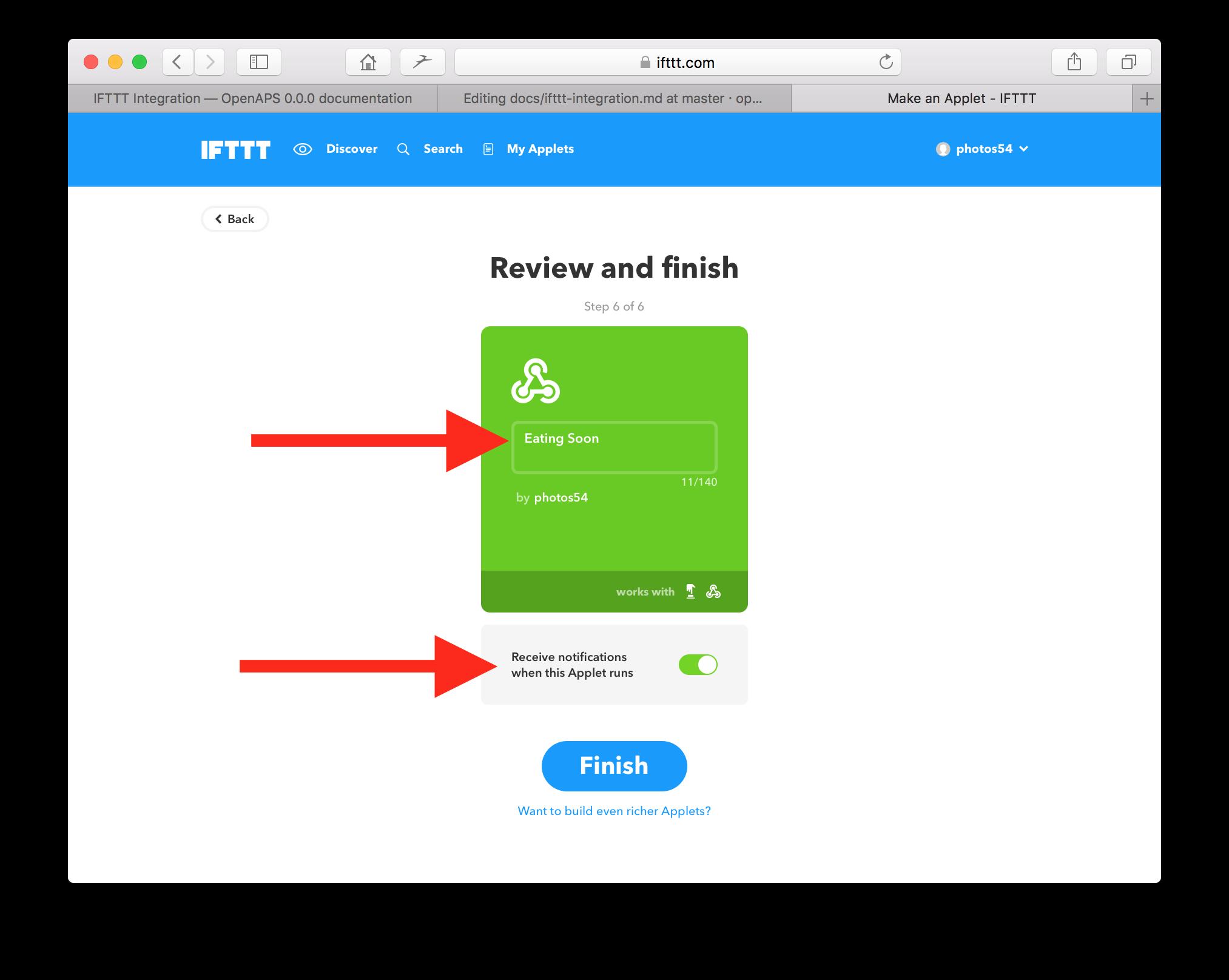 IFTTT Integration — OpenAPS 0 0 0 documentation